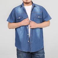 Denim Shirt Men Cotton 95% Casual Slim Fit Dress Men Shirt Short Sleeve Plus size
