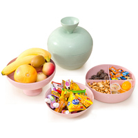 Living Room DIY Dried Fruit Plate Plastic Snack Storage Tray with Lid Puzzle Building Blocks Candy Box Storage Tank