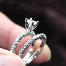 2019 Bruiloft Nieuwe Vrouwen Dubbele Ringen Set Engagement Vrouw Zirconia Ring Voor Lover Party Sieraden Dropshipping