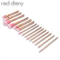New 15pcs RoseGold Makeup Brushes Set Cosmetic Foundation Powder Contour Eyeshadow Blusher Eyelash Blending Makeup Brushes