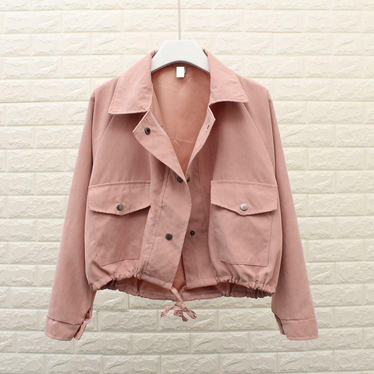 5 Colors Autumn Women Girls   Basic     Jacket   Fashion Pocket Casual Cropped   Jacket   Loose Outerwear Solid   Jacket   Coat