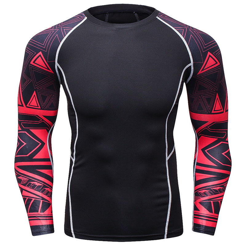 cf3f541bda Camisa de Fitness T Homens camisas De Compressão manga longa Apertado tee  camisas Quick Dry Camisa Base de Roupas de Ginástica Moda MMA dos homens  vestido