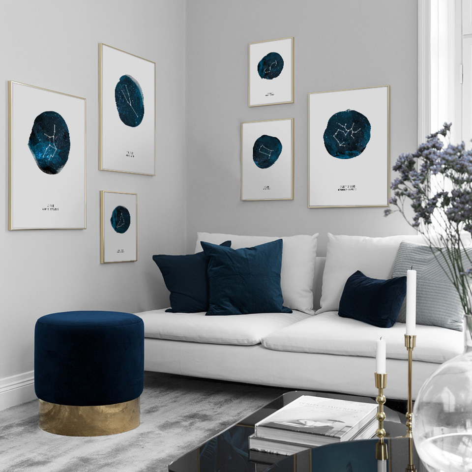 Canvas HD Prints Modern Pictures Nordic Style Zodiac Wall Art Letters Painting Home Decoration Modular Poster For Living Room