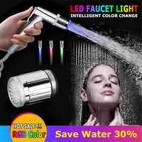 Robinet de cuisine lumineux tête d'eau avec adaptateur 24mm salle de bain bassin douche robinet eau buse Support LED lueur lumière 7/3/1 couleurs