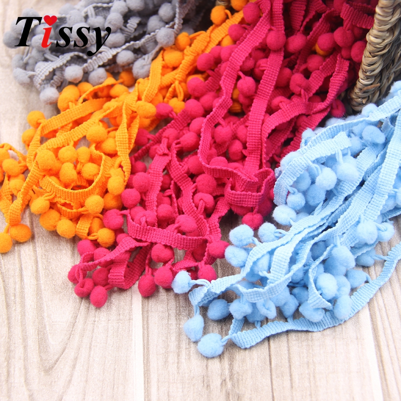 10MM Fringe PomPom Decor Home Party Ribbon DIY Trim Ball Sewing Lace 20Yards//Lot