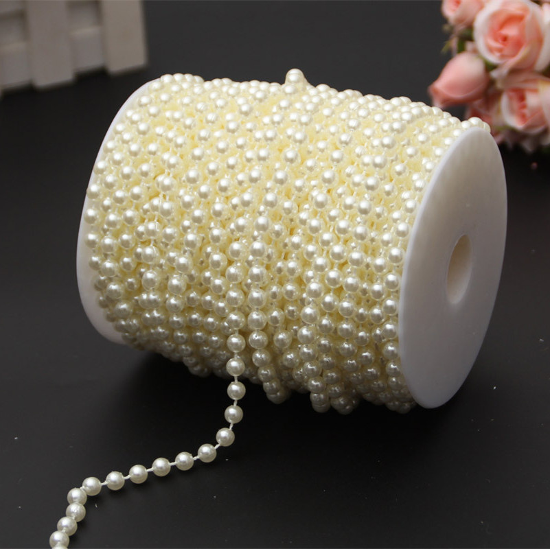 6mm Imitation Pearl wire Beads Chain Wedding Bouquet Packaging Beads String DIY Holiday Decoration Handmade Jewelry Accessories in Party DIY Decorations from Home Garden