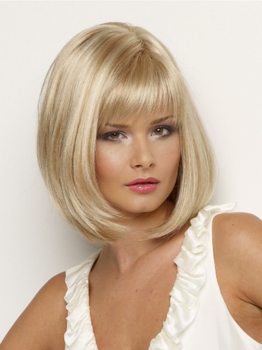 Synthetic Wig Straight Bob Hair Cut With Bangs Heat Resistant Side Part Blonde Womens Capless Natural Wigs Short Womens Hair