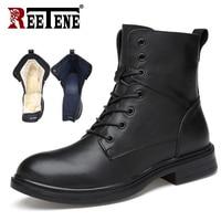 REETENE Genuine Leather Men Boots Winter Men'S Boots Comfotable Warm Fur Men Boots Fashion Snow Men Martin Boots Warmest Shoes