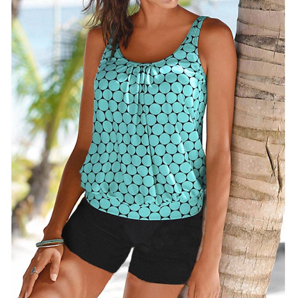 Women's Swimming Suit Plus Size Dot Print Tankini Swimjupmsuit Swimsuit Beachwear Padded Swimwear Biquinis Feminino #A
