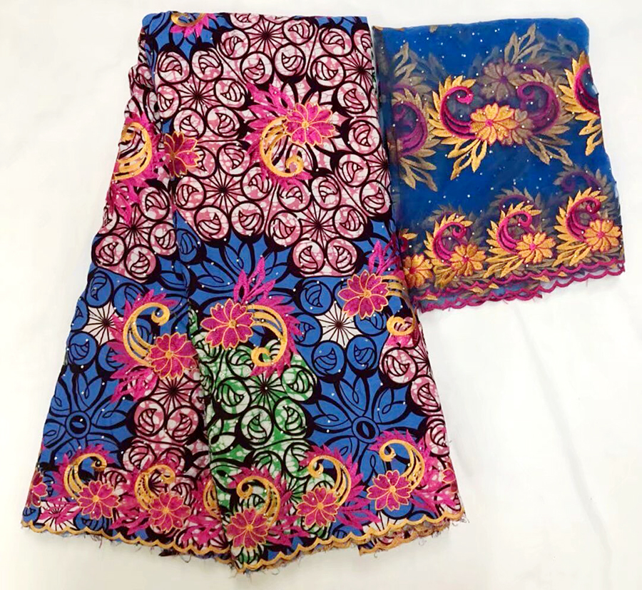 (5+2yards/set) beautiful Flower embroidered African voile lace fabric in Blue and pink plus French lace fabric for party dress(5+2yards/set) beautiful Flower embroidered African voile lace fabric in Blue and pink plus French lace fabric for party dress