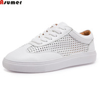 Asumer White Fahsion Spring Autumn Women Flats Shoes Round Toe Genuine Leather Shoes Casual Sneakers Single