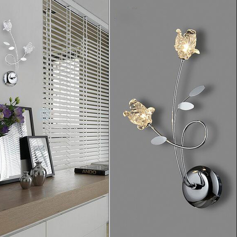 T Crystal Flower Fashion Wall Lamps Modern Creative LED Simple Modern Lamps For Bedroom Aisle Corridor Home Lighting DHL FREE