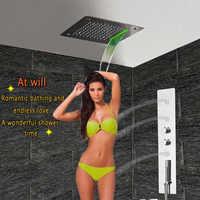 Łazienka panel prysznicowy z doprowadziły sufitu głowica prysznicowa prysznicowa wanna zawór termostatyczny mikser kranu deszczu wodospad prysznic dysze do masażu GF5326