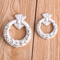 60mm european style ivory white drop rings furniture handles 45mm white gold drawer cabinet dresser door rings knob pull handle