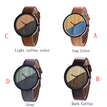 2019 New Arrival Luxury Wood Grain Young Creative Men And Women Half Color Quartz Lovers