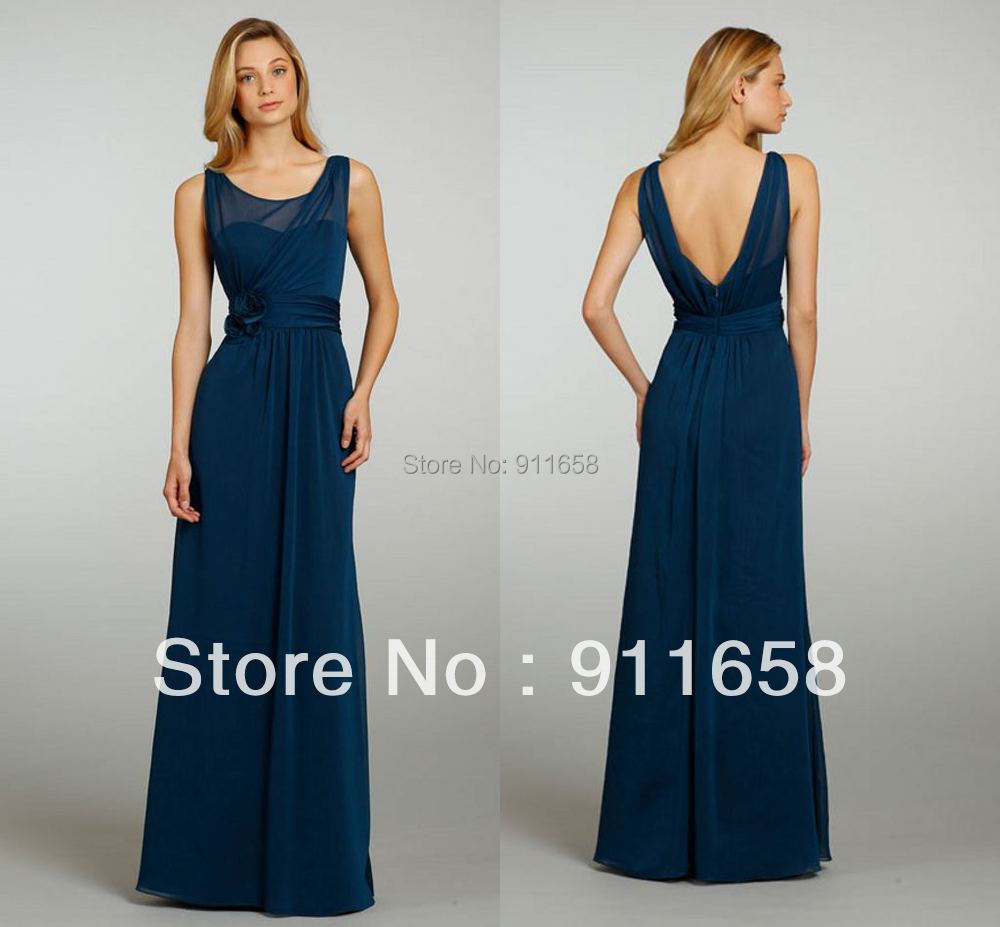 Navy blue scoop floor length chiffon drapped a line for Navy dresses for weddings