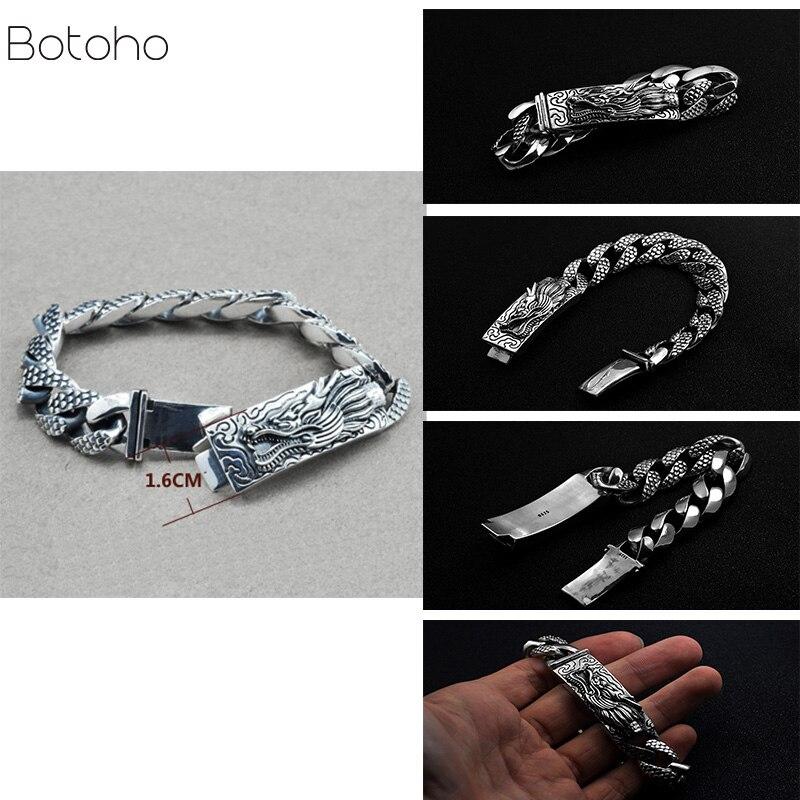 Bracelet échelle Dragon chaîne véritable pur 925 argent Sterling Double têtes Vintage Punk Rock Style rétro hommes bijoux Bracelet à breloques