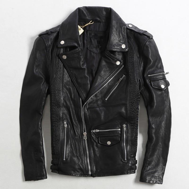 2017 font b Mens b font Leather Motorcycle font b Jackets b font Black Slim Fit