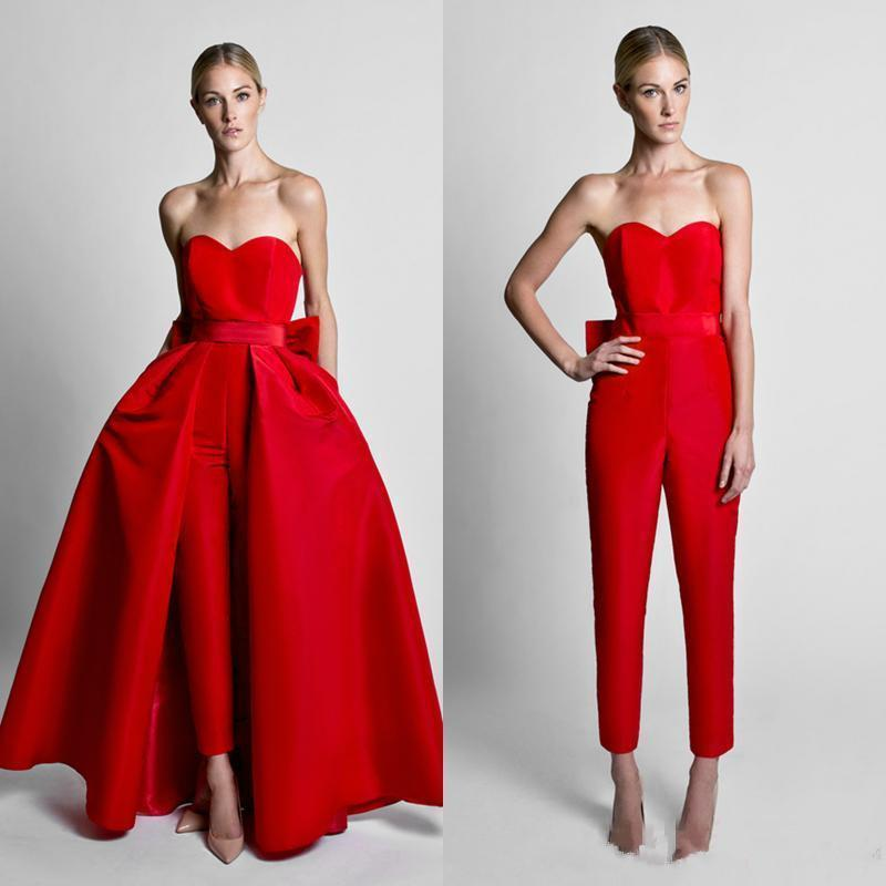 Attractive Red Jumpsuits Celebrity Prom Dresses With Detachable Skirt Sweetheart Strapless Satin Guest Dress Evening Party Gowns