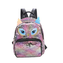 Sequin Women Bag 2019 New Cute Little Fox Backpack Fashion Small Backpack Pu School Bags for Girls Women backpack(China)