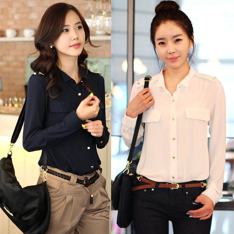 Free Shipping 2014 Korea Spring NEW OL Outfit Elegant Women s Shirt Fashion Long  Sleeve Chiffon Blouses 4 Size+2 Color MF0211-in Blouses   Shirts from ... e0053d31e