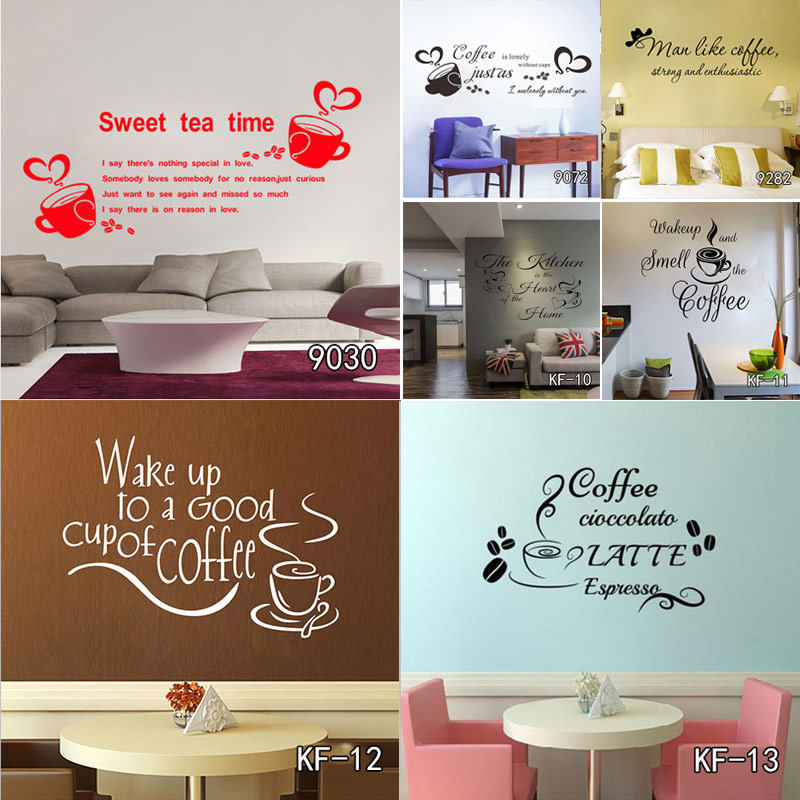 Coffee Wall Art Decal Sticker Vinyl Coffee Wall Stickers for Coffee Shop or Office Decor