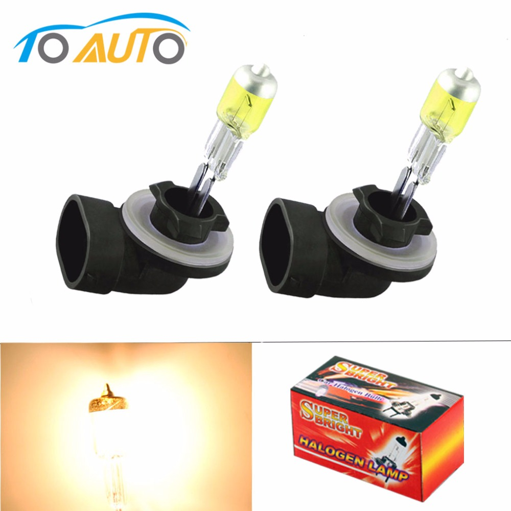 2PCS 881 894 H27 Halogen Bulbs 27W  Fog Lamps Light 12V Car Light Source  Yellow Amber