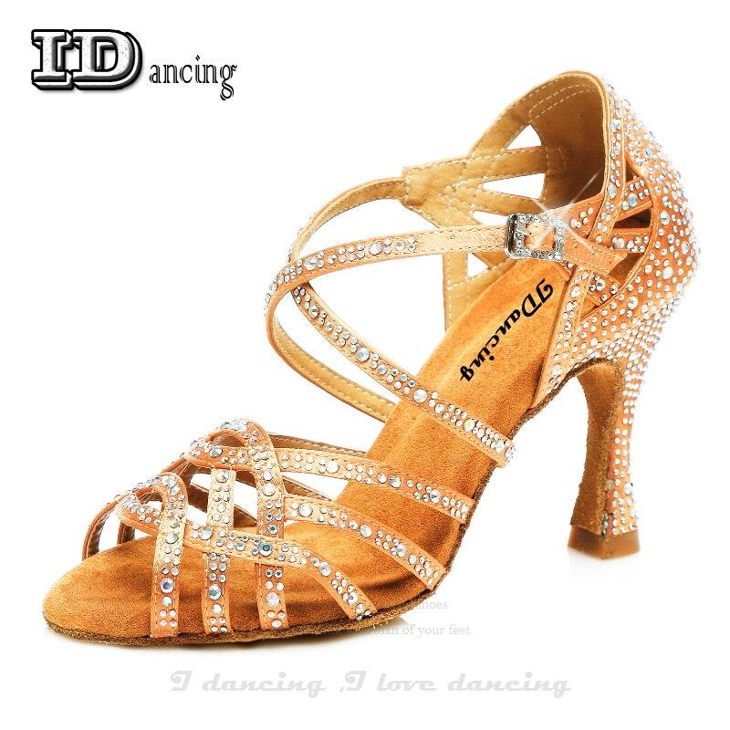 Tango Dance Shoe Rhinestone Latin Shoes For Women Ladies Comfort Salsa Shoes Latin Heels Ballroom Bronze