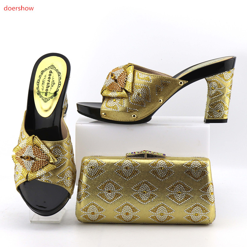 doershow 2017 New African shoe and bag set for party Italian shoe with matching bag new design ladies bag with stones  OP1-9