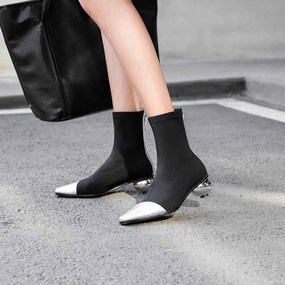 SIMLOVEYO جلد النساء حذاء من الجلد الخريف جورب الأحذية سترتش ضئيلة سستة كرة مستديرة كعب أحذية مصممين الأسود B1414