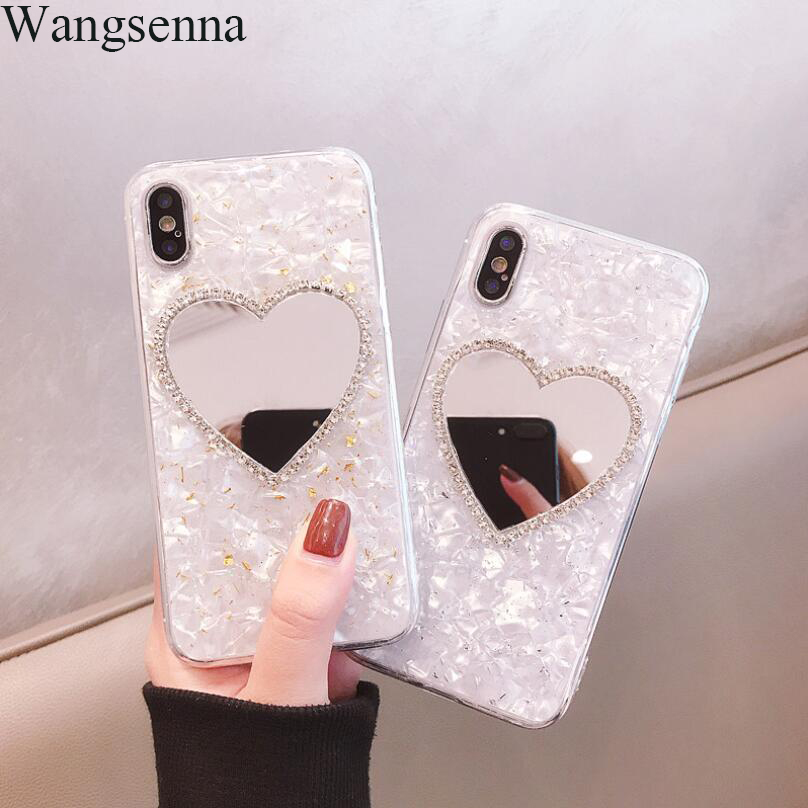 Heart-shaped Cute Mirror Soft Phone Cases For iPhone 7 8 Plus X XS XR Max 6 6S Plus Glitter Love Heart Cartoon Back Cover