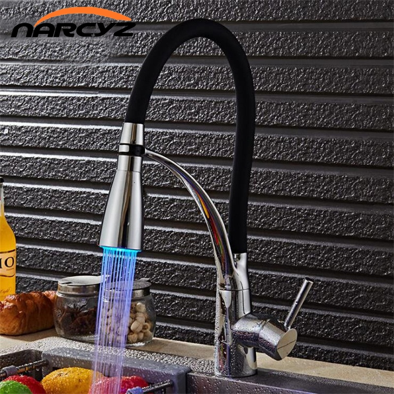 LED Kitchen Faucets With Rubber Design Chrome Mixer Faucet For KitchenSingle Handle Pull Down Deck Mounted