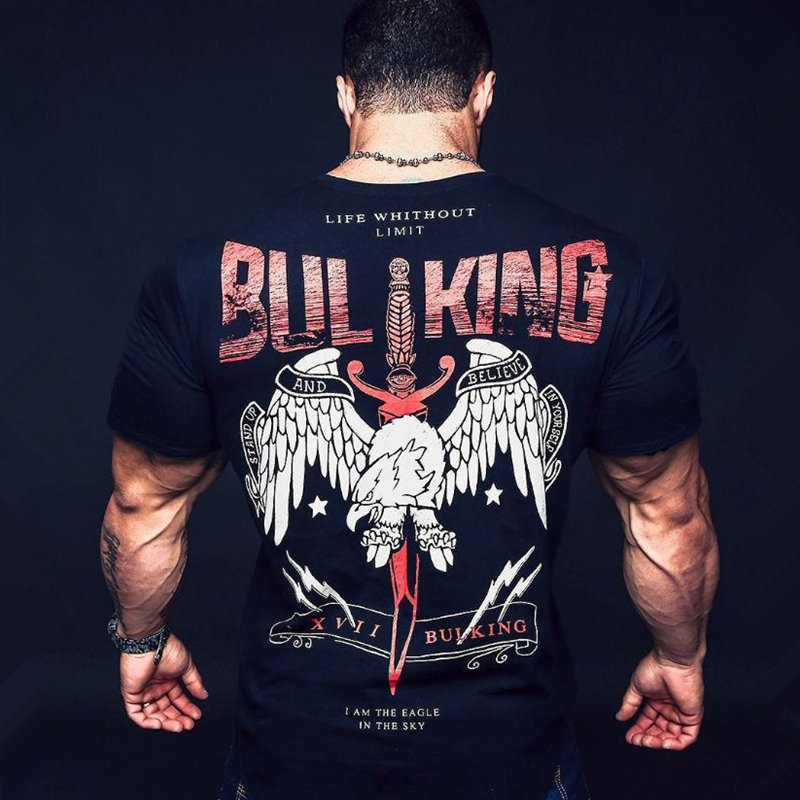 Men Creative Printed Short sleeve Cotton   t     shirt   Fashion Casual Gyms Fitness Bodybuilding Workout Tees Male Tops Brand Clothing