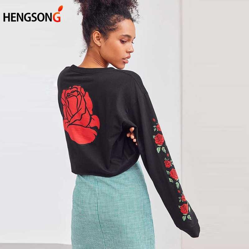 Frauen Sweatshirts und Pullover Langarm Skateboard Kleidung Rose Print Crop Tops Casual Trainingsanzüge Fitness Sweatshirts