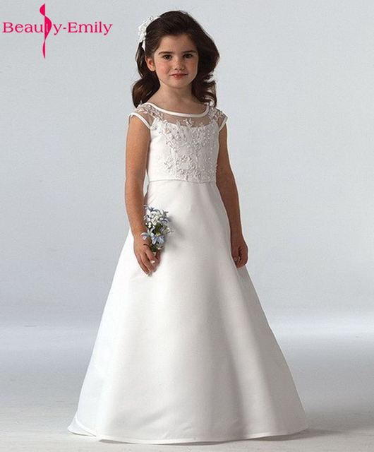 26bef503be9 Beauty-Emily White Scoop A-line Long First Communion Dresses Flower Girls  Dresses 2018 Baby Girl Christening