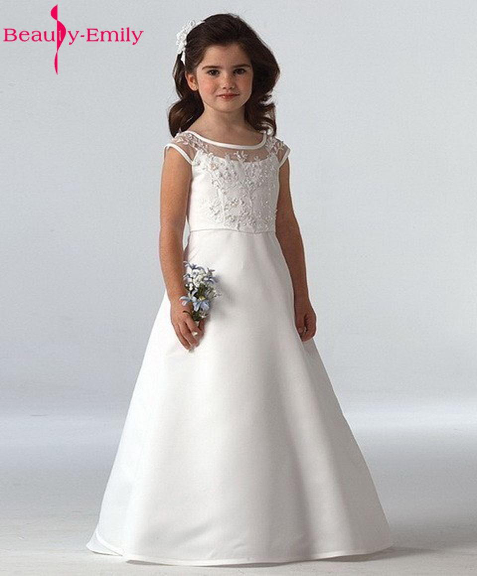 Beauty-Emily White Scoop A-line Long First Communion   Dresses     Flower     Girls     Dresses   2018 Baby   Girl   Christening
