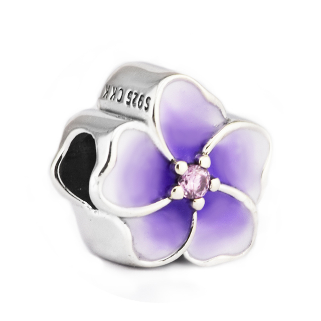 100% 925 Sterling-Silver-Jewelry Orchid Beads Purple Flower Charm CZ & Pale Purp