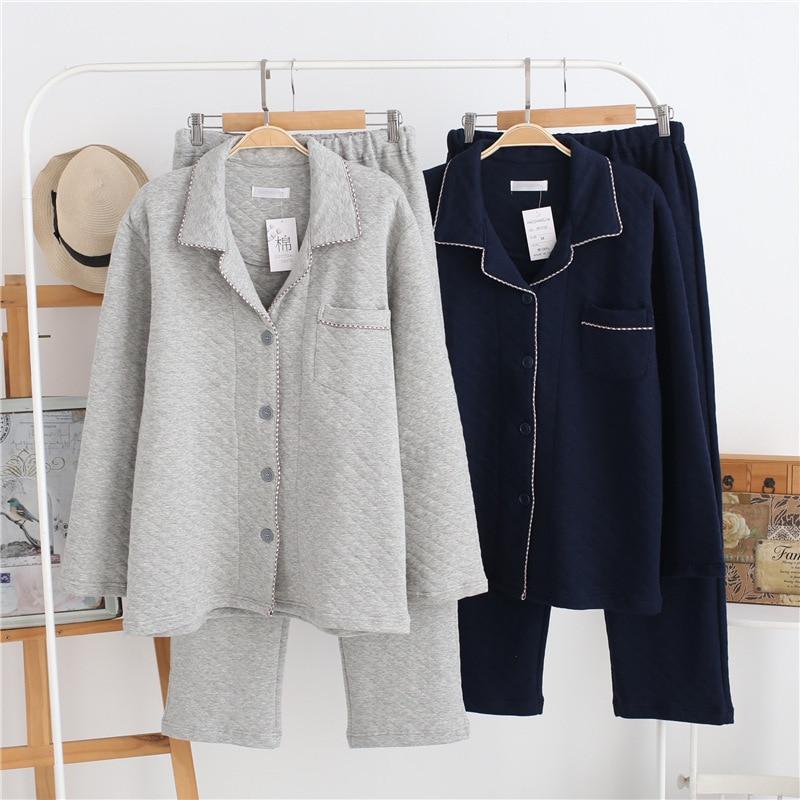 Hommes coton pyjamas ensemble chaud automne hiver vêtements de nuit confortable pantalons décontractés longue maison vêtements simple TWILL mâle vêtements d'intérieur
