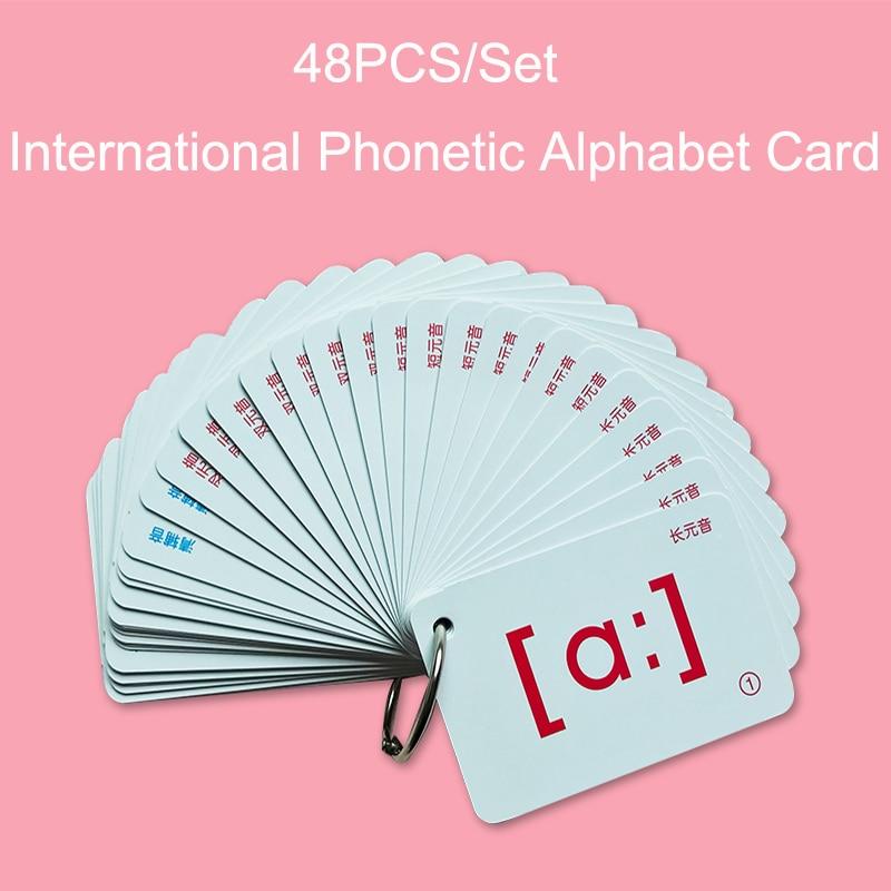 48Pcs/Set English FlashCards International Phonetic Alphabet Card Educational Learning Portable Table Game Toys For Children