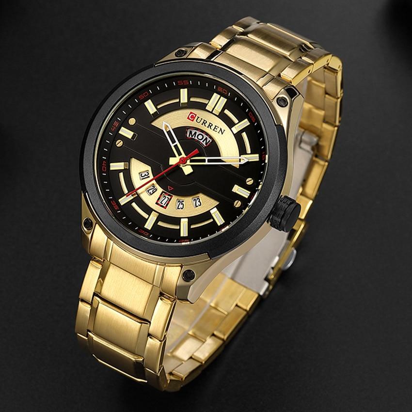 Curren Watches Luxury Men Watches Gold Top Brand Luxury Creative Quartz Stainless Steel Men Watch Gold Man Watch 2018 Waterproof цена