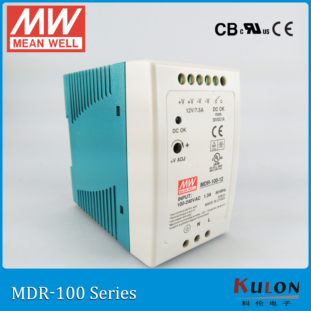 Meanwell MDR-100 Single Phase AC/DC PSU 100W 12V/7.5A 24V/4A 48V/2A DIN Rail Mounted Industrial Power Supply free shipping стоимость