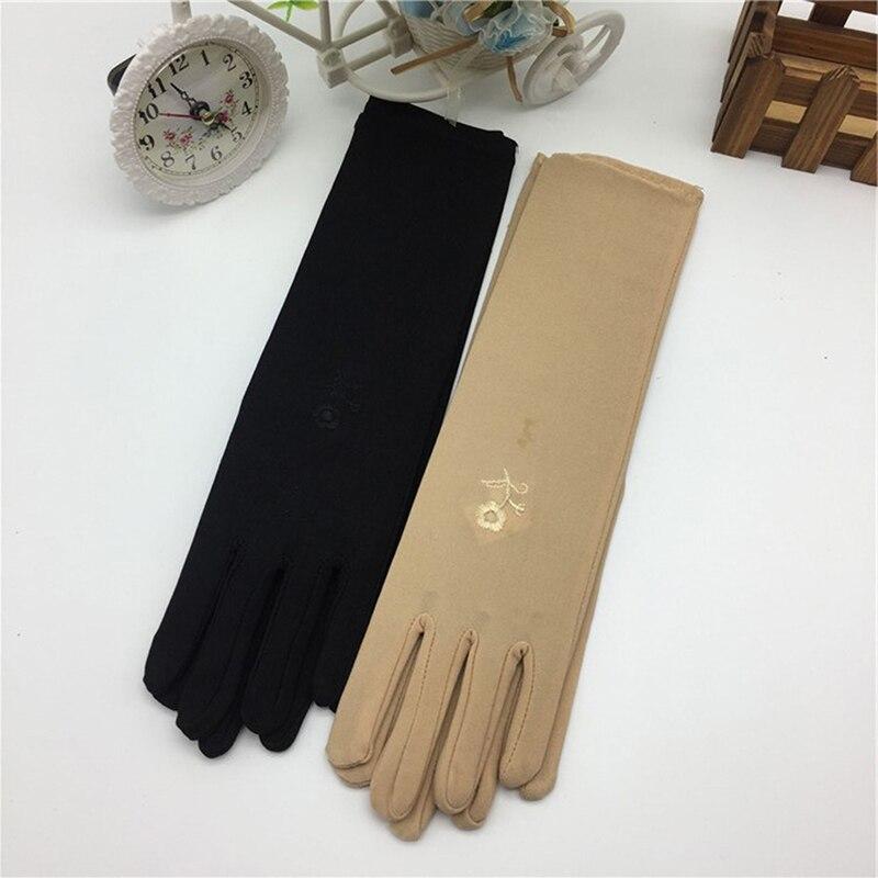 Женские тонкие эластичные перчатки средней длины, летние женские перчатки с вышивкой от солнца, аксессуары для вождения автомобиля Мужские перчатки      АлиЭкспресс