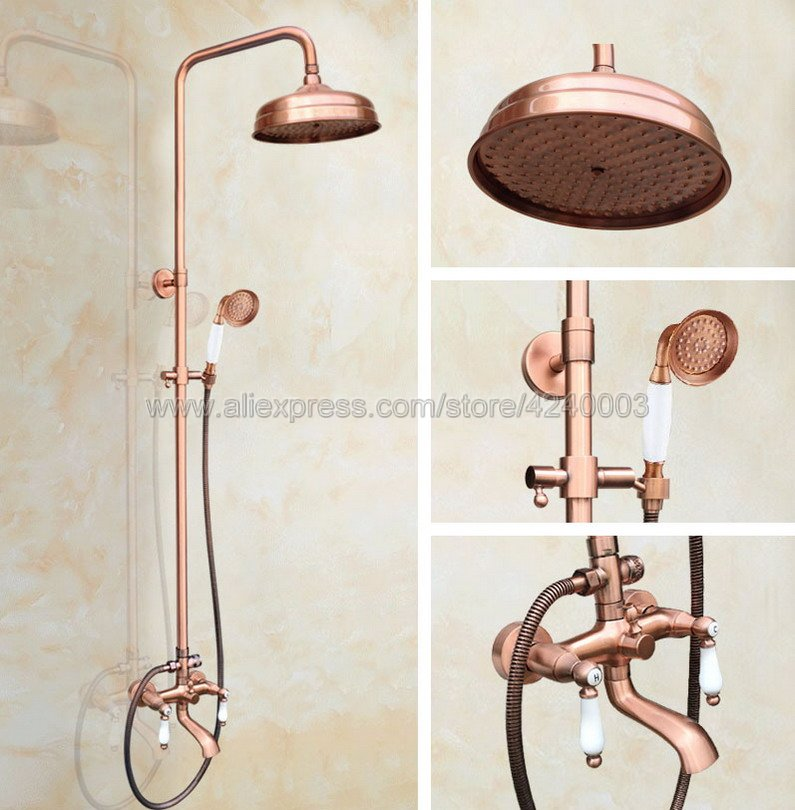Antique Red Copper Bathroom 8Rainfall Shower Faucet Tub Spout Mixer With Hand Shower Tap Krg574