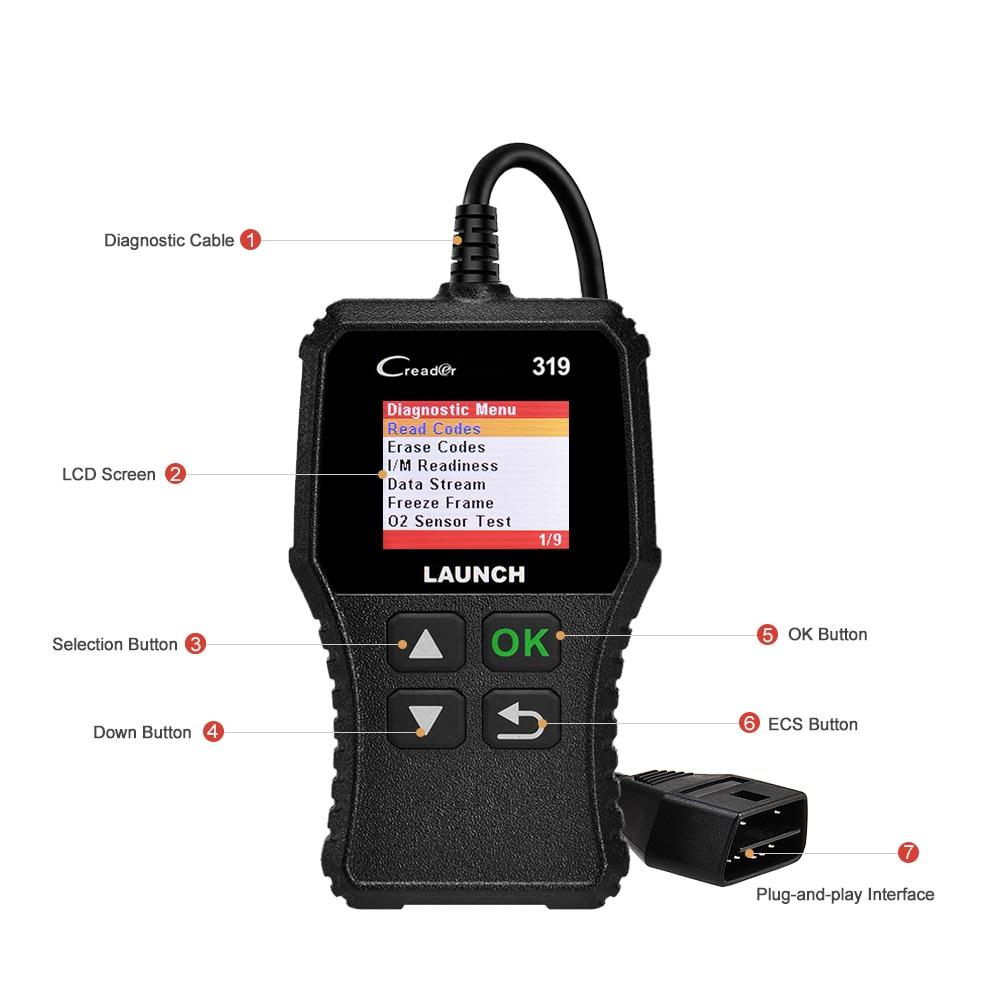 Launch X431 Creader 319 CR319 Auto Code Reader Full OBDII EOBD Automotive Diagnostic Tool OBD2 Scanner Launch X431 Creader 319 CR319 Auto Code Reader Full OBDII EOBD Automotive Diagnostic Tool OBD2 Scanner as Creader 6001 CR3001