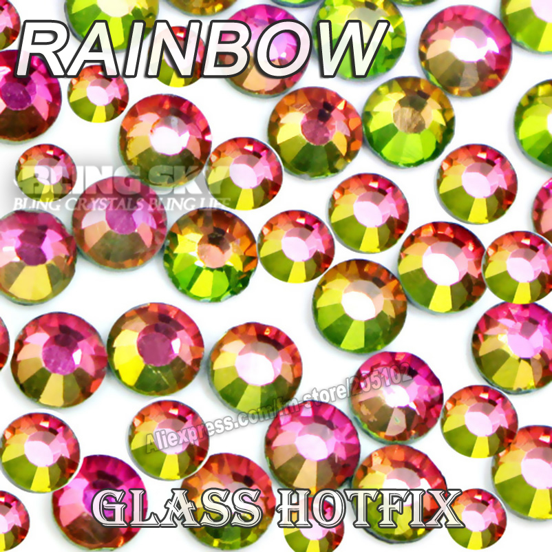 Rainbow BIG PACKAGE Hot Fix Rhinestones SS6 SS10 SS16 SS20 SS30 DMC Flat Back Crystals Glitters