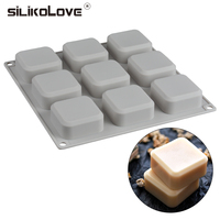 SILIKOLOVE 9 Cavities Multifunction Silicone Cake Mold For Bread Loaf Pan Baking Decoration Tools For Cakes