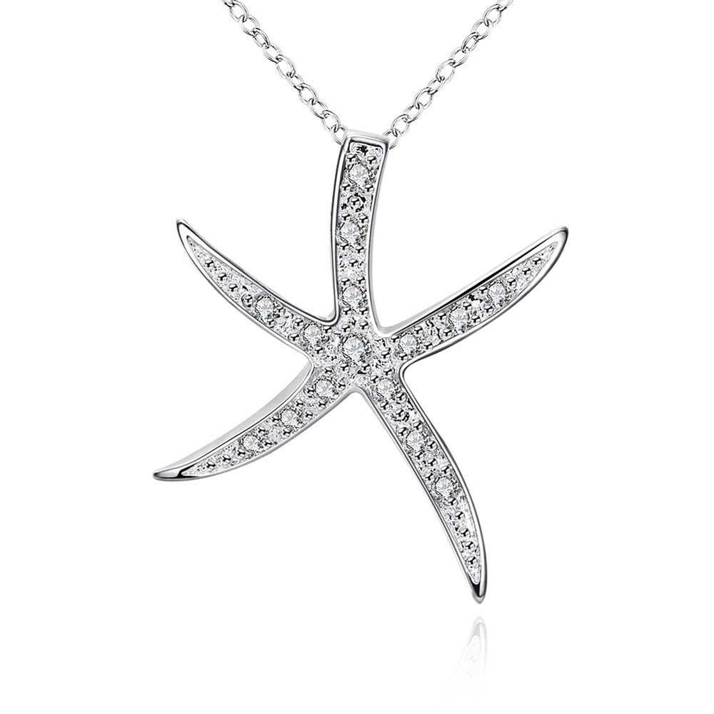 925 Sterling Silver Moda Popular Estrela Do Mar Pingente De Cristal Branco  de Alta Moda Jóias Melhor Presente P030 45ac601dc1