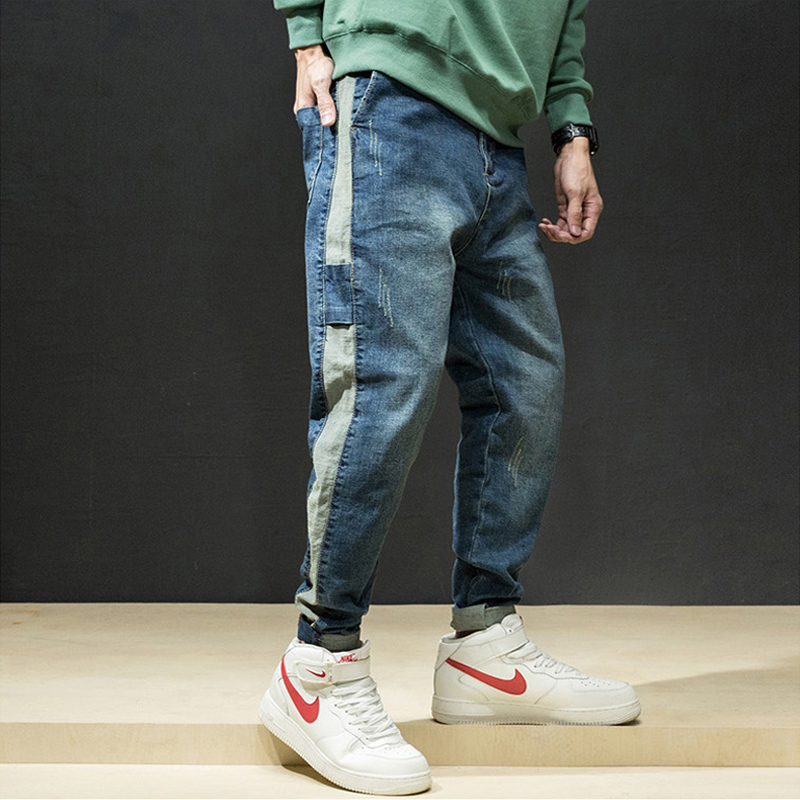 Fashion Streetwear Men Jeans Blue Color Vintage Design Loose Fit Tapered Trousers Patchwork Cargo Pants Men Hip Hop Pencil Pants