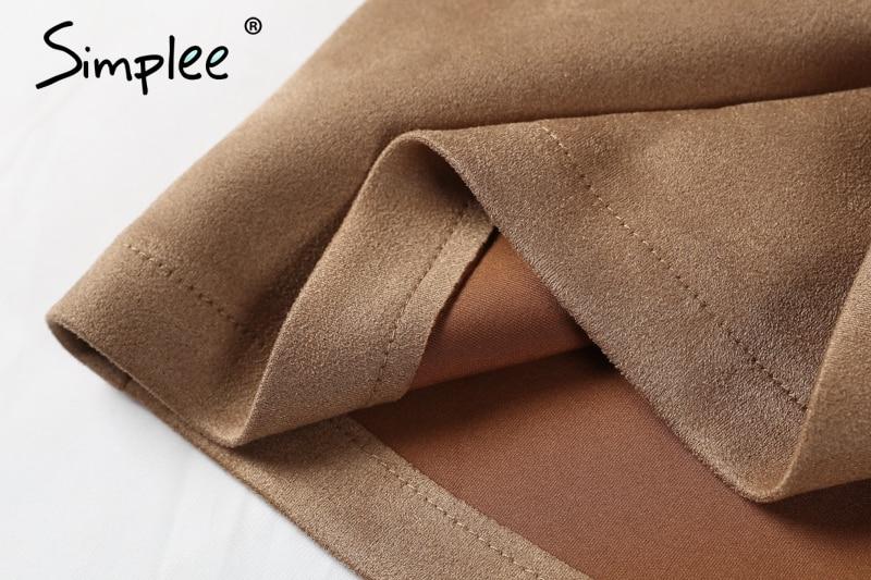 Simplee Autumn vintage leather suede pencil skirt winter 18 Cross high waist skirt Zipper split bodycon short skirts women 11
