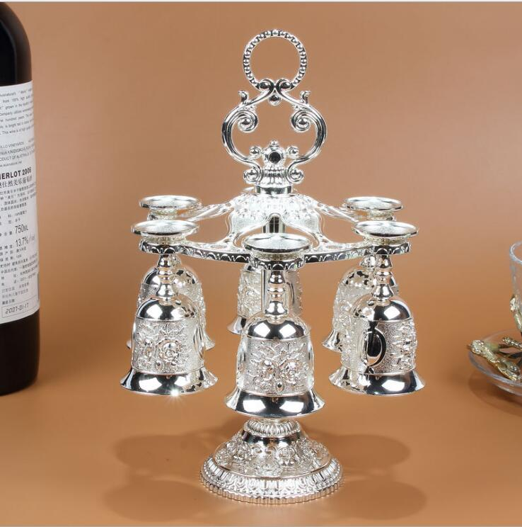 7pcs/set wine set kitchen dining bar Supplies metal cone for distiller for home decoration sliver Wine glasses+Wine rack JJ059